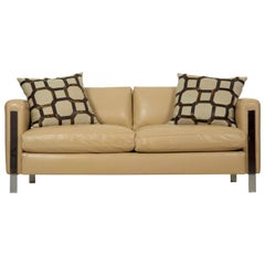 20th Century Modern Leather and Chrome Steel Loveseat