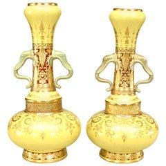 Pair of Similar English Victorian 'Minton' Yellow Ground Bottle Form Vases