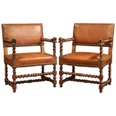 Pair of 19th Century French Louis XIII Walnut and Leather Barley Twist Armchairs