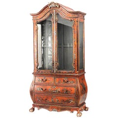 English Georgian Style Red Lacquered Chinoiserie Design Cabinet
