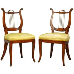 Pair of Early 19th Century Austrian Neoclassical Fruitwood Lyre Back Side Chairs