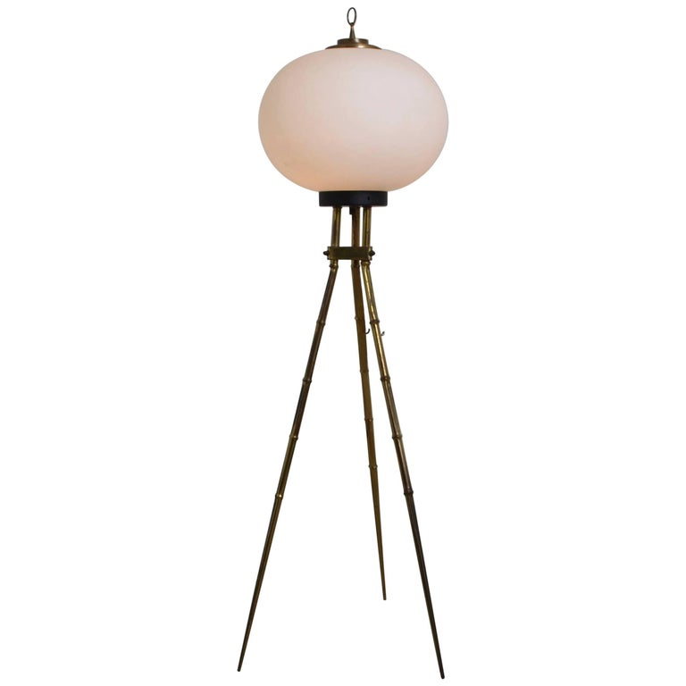Tripod Floor Lamp with White Glass Shade, Italy, 1970