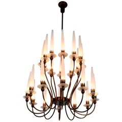 Rare 24-Light Chandelier Mod. 12423 by Angelo Lelli for Arredoluce, Italy, 1953