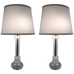 Pair of Les Prismatique Rock Crystal / Crystal Mirrored Chrome Lamps