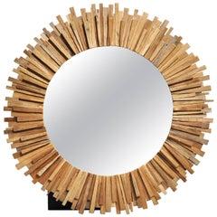 Teak Wood Sunburst Mirror