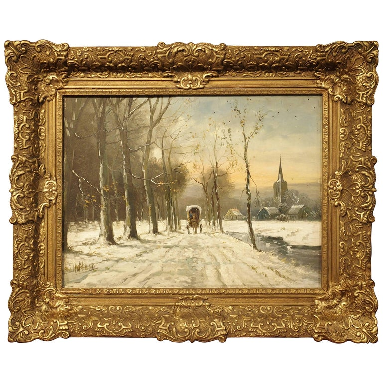 Small Oil on Wood Winter Scene Painting by Jan Hofland, 20th Century
