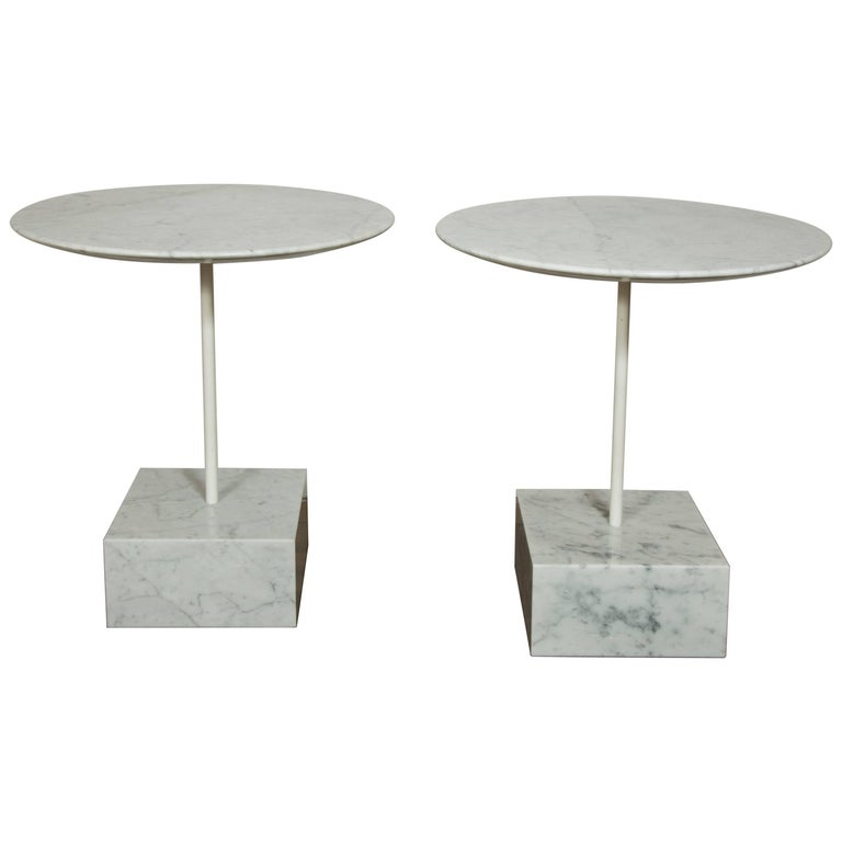 """Pair of """"Primavera"""" Marble Gueridons by Ettore Sottsass"""