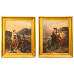 Pair of English Victorian Gilt Framed Oil Portraits 'Richard Ansdell RA'