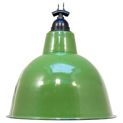 Green Enamelled Ceiling Lamp, circa 1950