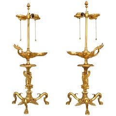 Pair of English Regency Style Gilt Bronze Aladdin Style Table Lamps
