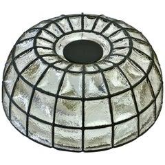 Limburg Glashütte Large 1960s Black Iron and Glass Honeycomb Domed Wall Light