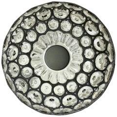 Limburg Glashütte 1960s Glass Black Iron Rings Circular Domed Flush Mount Light