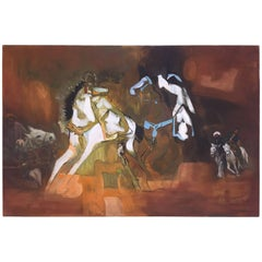 Signed Modernist Arabian Riders on Horses Painting