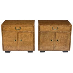 Pair of John Widdicomb Campaign-Style Nightstands