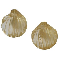 Small Gold Italian Murano Art Glass Seashell Form Bowls