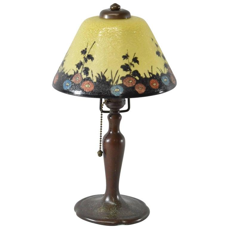 Handel Reverse Painted Shade Boudoir Lamp For Sale