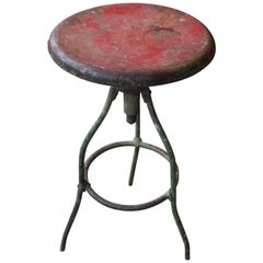 Antique Rustic Industrial Adjustable Height Stool