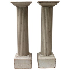 Pair of Large 19th Century Painted Doric Columns