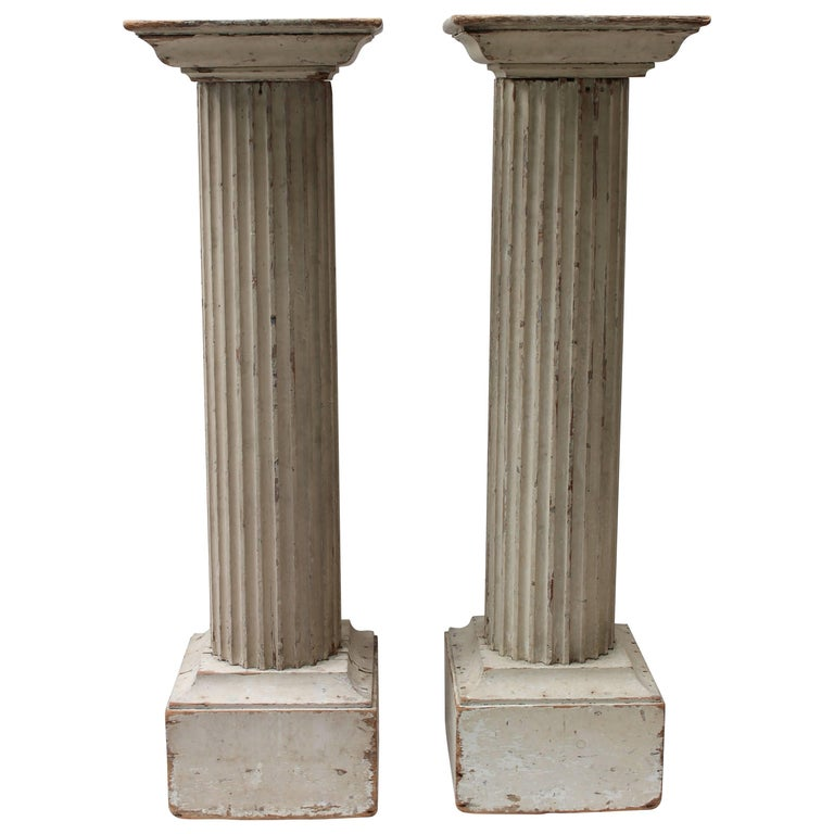 Pair of Large 19th Century Painted Doric Columns