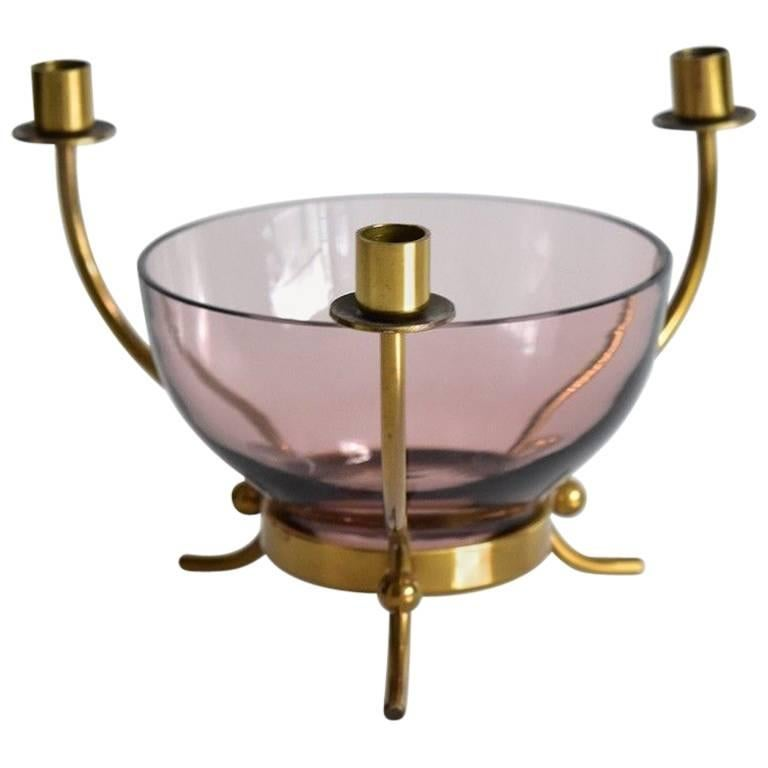 Gunnar Ander Ystad Metall Schweden Brass Candleholder