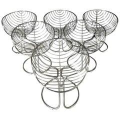 Gastone Rinaldi 'Pan Am' Chrome Italian Chairs, Set of Six