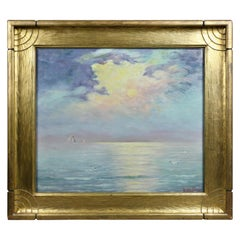 Framed Oil on Board by Charles Edward Hallberg of One of the Great Lakes