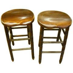 Pair of English Saddle Stools from a Pub