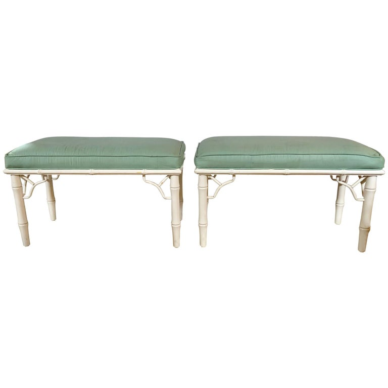 Pair of Hollywood Regency Style Bamboo Form Benches