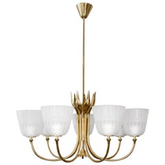 Scandinavian Modern Brass Chandelier by Borens