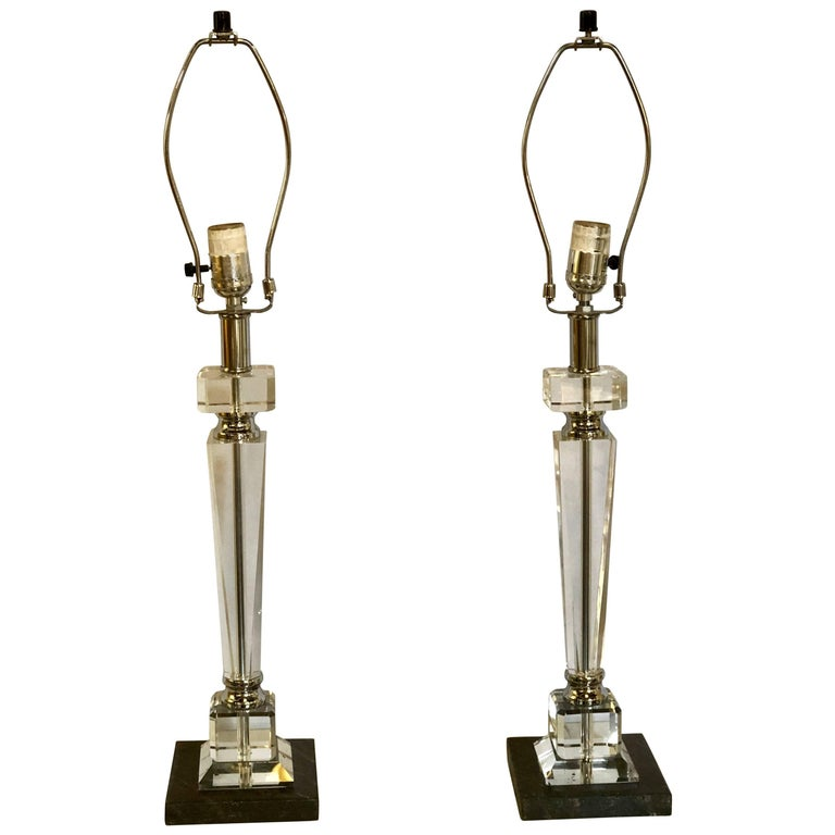 Pair of Hollywood Regency Style Glass and Chrome Table Lamps