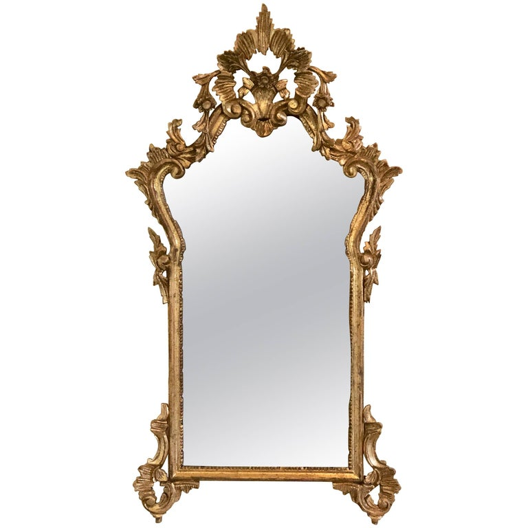 Italian Giltwood and Gesso Frame Hanging Wall or Console Mirror