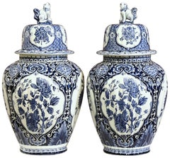 Pair of Large Mid-20th Century Dutch Blue and White Maastricht Delft Ginger Jars
