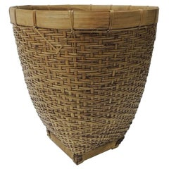 Vintage Rattan and Bamboo Waste Basket