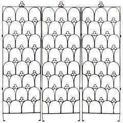 English Gothic Style '19th-20th Century' Black Iron Three-Panel Gate