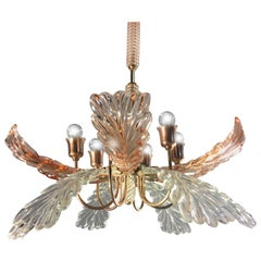 Elegant and Rare Chandelier by Barovier & Toso, Murano, 1940s