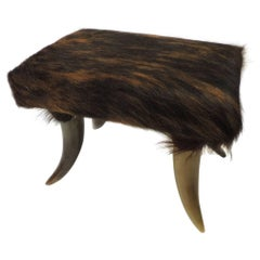 Vintage Brown Long Hair Cow Hair Upholstered Food Stool