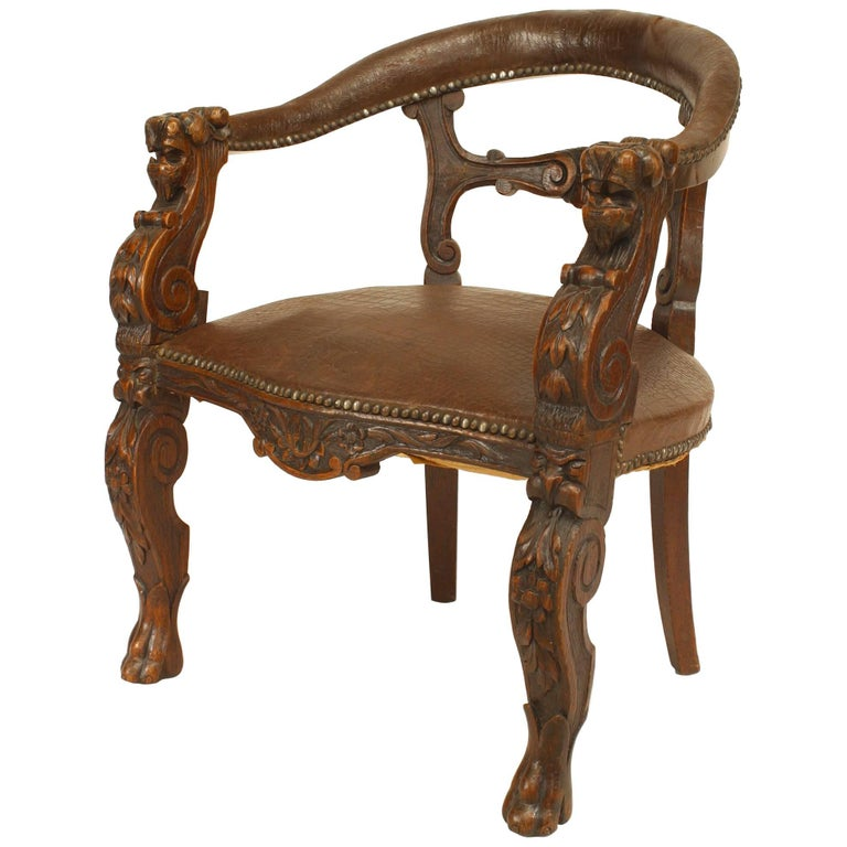 English Victorian Oak Round Open Back Character Armchair