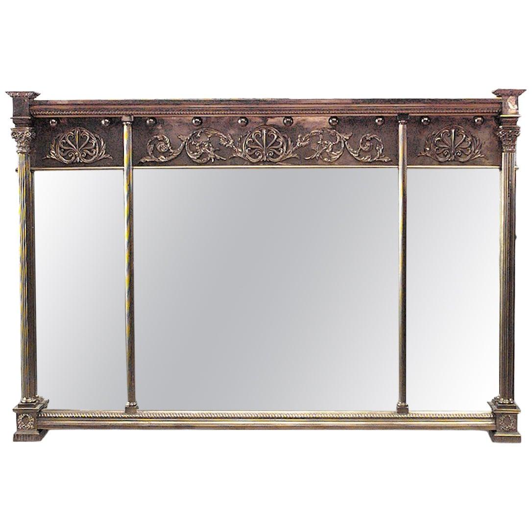 English Adam Style Horizontal Three-Panel Wall Mirror