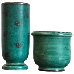 Wilhelm Kage Small Decorative Ceramic Vases, Gustavsberg Sweden
