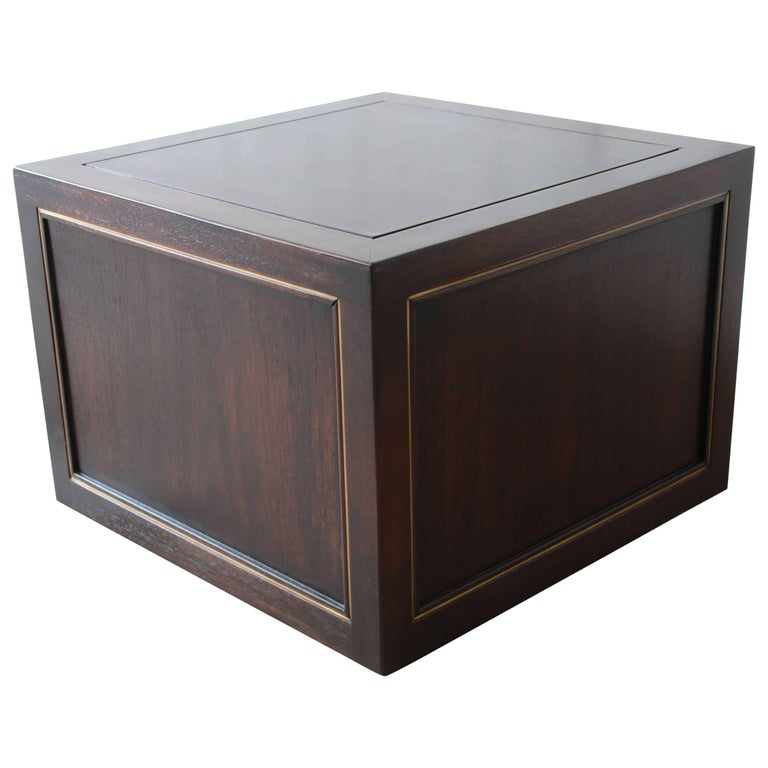 Edward Wormley for Dunbar Mahogany and Brass Cube End Table