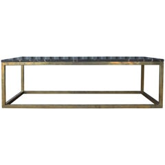 Coffee Table with Stone Top and Brass Base, 1970s