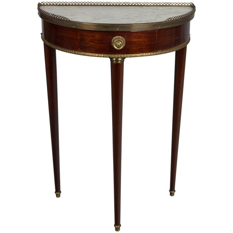 French Louis XVI Style Demilune Console Table