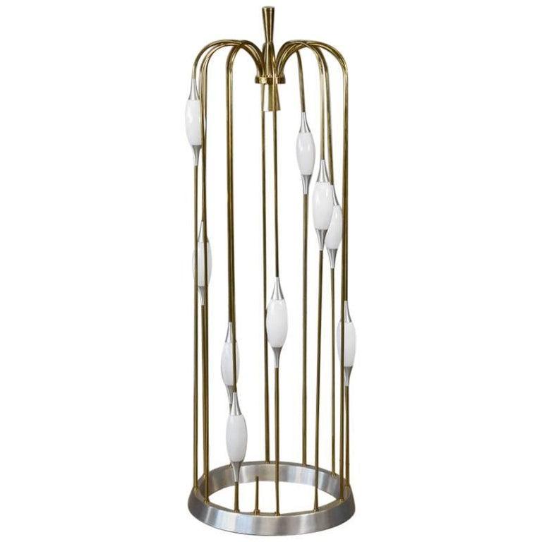 Monumental Brass and Aluminium Floor Lamp