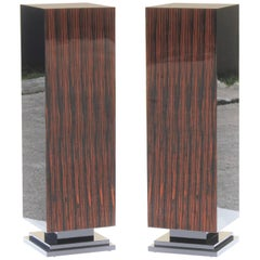 Monumental Pair of French Art Deco Exotic Macassar Ebony Pedestals, 1940s