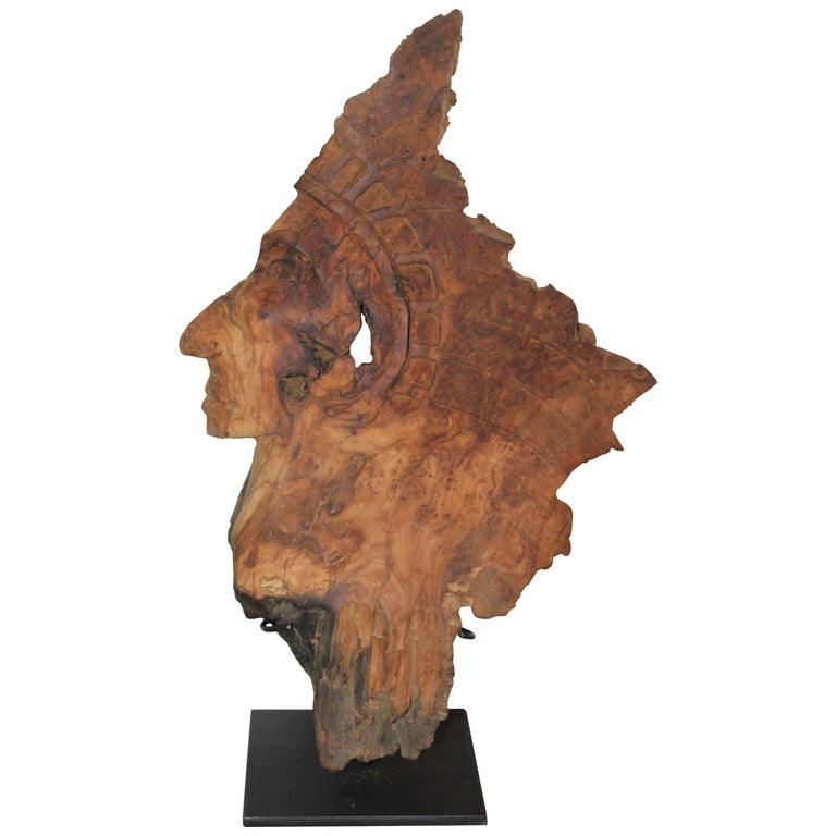 Hand-Carved Indian Head of Wood For Sale