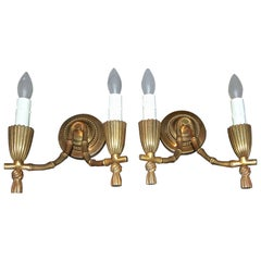 Pair of Baguès Bronze Faux Bamboo Wall Sconces