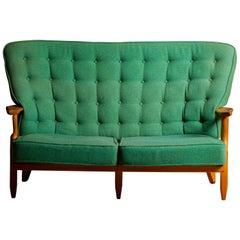 "Guillerme et Chambron, Two-Seat Sofa ""Grand Repos"" in Oak, circa 1960"