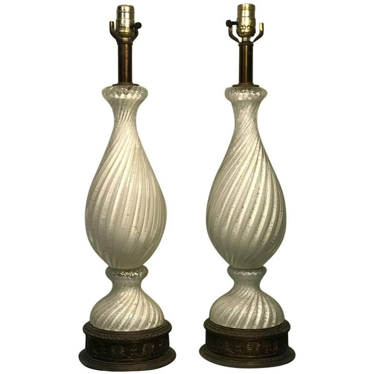 Midcentury Pair of White and Silver Swirled Murano Lamps