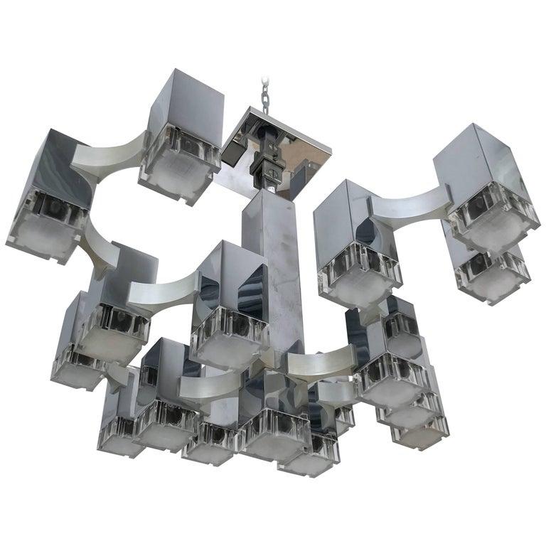 Chandelier Cubic by Sciolari, Italy, 1970s