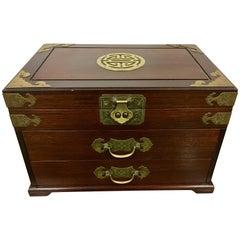 20th Century Asian Wood and Iron Mounted Hardwood Jewelry Box Casket Case